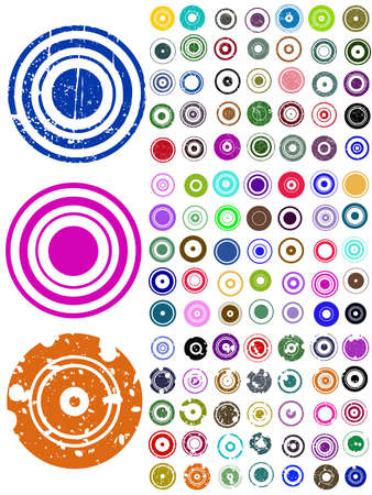 round frame: 105 Circle Elements with splat and grunge effects Illustration
