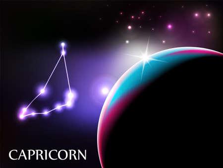 capricornio: Capricornio - escena de espacio con espacio de signo zodiacal y copia