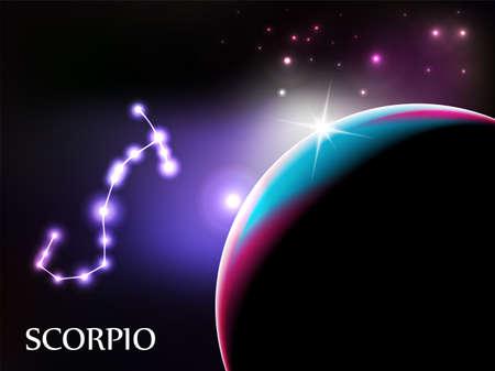 escorpio: Scorpio - escena de espacio con espacio de signo zodiacal y copia