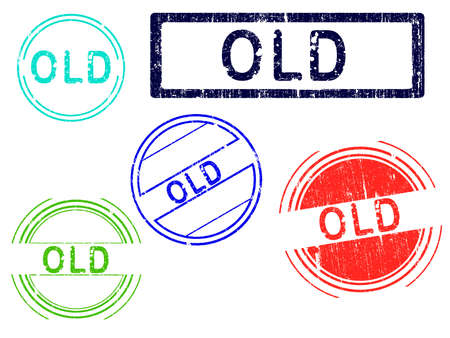 5 Grunge effect Office Stamp with the word OLD in a grunge splattered text. (Letters have been uniquely designed and created by hand) Stock Vector - 8833263