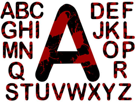 Alphabet - Black with Red Blood Splats  Vector