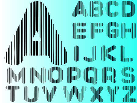 Barcode Alphabet Ato Z  (Hand drawn Letters - Seperately grouped and  transparent so they can be overlaid onto other graphics) Stock Vector - 8833234