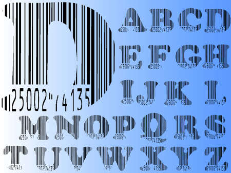 Barcode Alphabet Ato Z  (Highly detailed Letters Seperately grouped and  transparent so they can be overlaid onto other graphics)  Vector