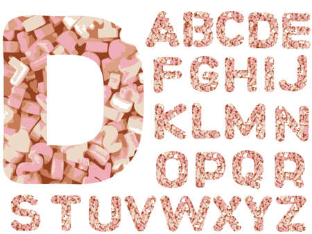 jelly beans: Candy Alphabet Letters - Hand Drawn Font with bightly colored Candy Sweet letters