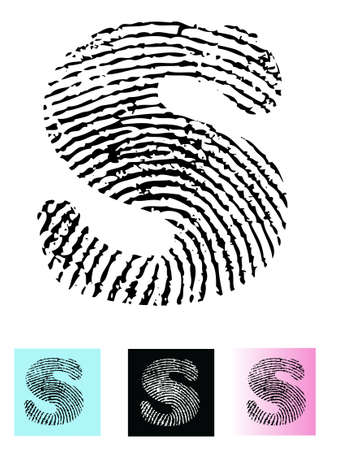 Fingerprint Alphabet Letter S (Highly detailed Letter - transparent so can be overlaid onto other graphics)  Vector