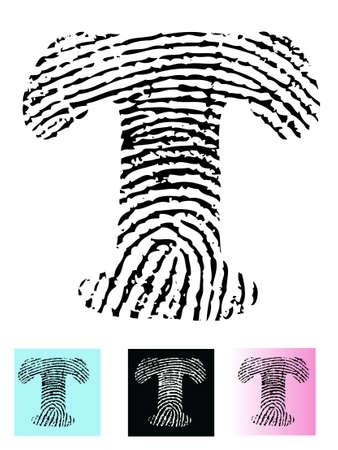 Fingerprint Alphabet Letter T (Highly detailed Letter - transparent so can be overlaid onto other graphics)