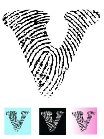 finger paint: Fingerprint Alphabet Letter V (Highly detailed Letter - transparent so can be overlaid onto other graphics)  Illustration