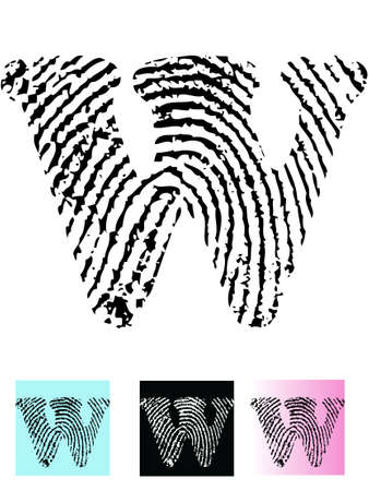 Fingerprint Alphabet Letter W (Highly detailed Letter - transparent so can be overlaid onto other graphics)  Vector