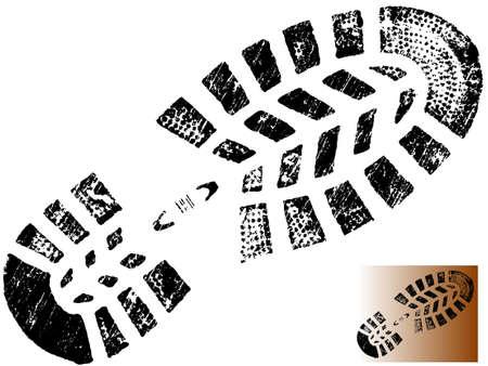 huellas de pies: Aislados Mountin BootPrint - altamente detallado de una monta�a arranque-transparente, por lo que se puede se superpone a otros elementos gr�ficos  Vectores