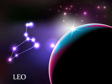 leo: Leo - Space Scene with Astrological Sign and copy space