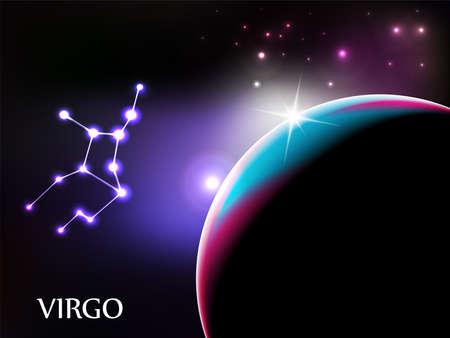 virgo: Virgo - escena de espacio con espacio de signo zodiacal y copia