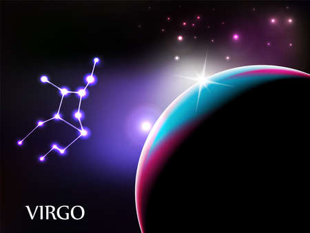 Virgo - ruimte scène met astrologische teken- en kopieer ruimte Vector Illustratie