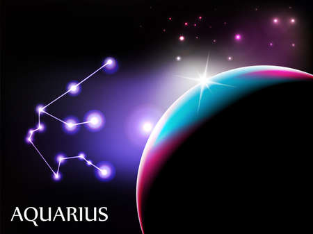 zodiac illustration: Aquarius - Space Scene with Astrological Sign and copy space