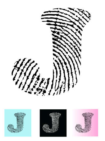 cutaway: Fingerprint Alphabet Letter J (Highly detailed Letter - transparent so can be overlaid onto other graphics)