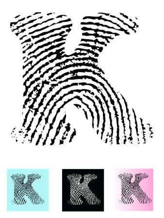 Fingerprint Alphabet Letter K (Highly detailed Letter - transparent so can be overlaid onto other graphics) Vector