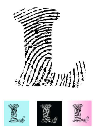 finger paint: Fingerprint Alphabet Letter L (Highly detailed Letter - transparent so can be overlaid onto other graphics) Illustration
