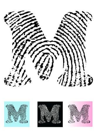 tan: Alfabeto letra M (altamente detallada carta - transparente por lo que puede se superpone a otros gr�ficos) de huellas digitales Vectores