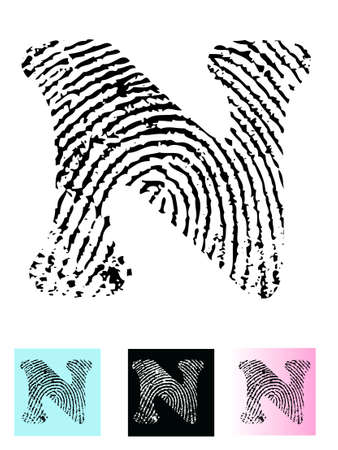 Fingerprint Alphabet Letter N (Highly detailed Letter - transparent so can be overlaid onto other graphics) Ilustração
