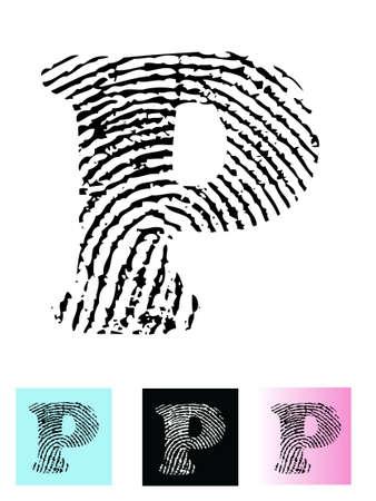 tan: Alfabeto letra P (altamente detallada carta - transparente por lo que puede se superpone a otros gr�ficos) de huellas digitales