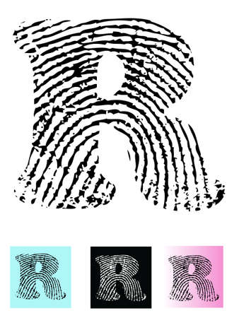 Fingerprint Alphabet Letter R (Highly detailed Letter - transparent so can be overlaid onto other graphics) Vector