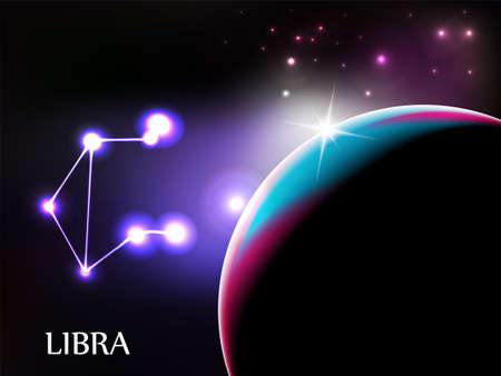 Libra - Space Scene with Astrological Sign and copy space Vector