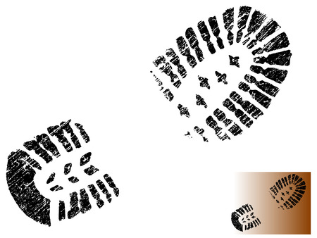 Grungy BootPrint - Highly detailed vector of a mountain boot- transparent vector so it can be overliad onto other graphic elements 向量圖像