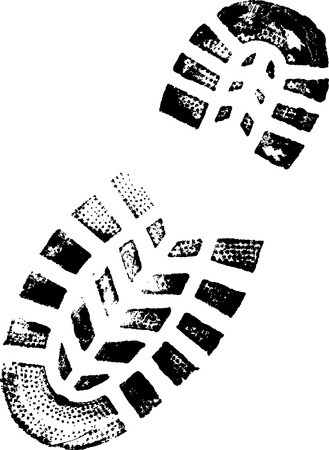 Close up of a boot print