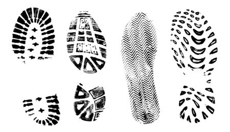 4 Isolated BootPrints - Highly detailed vector of walking shoes Vetores