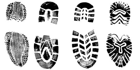 4 Isolated BootPrints - Highly detailed vector of walking shoes
