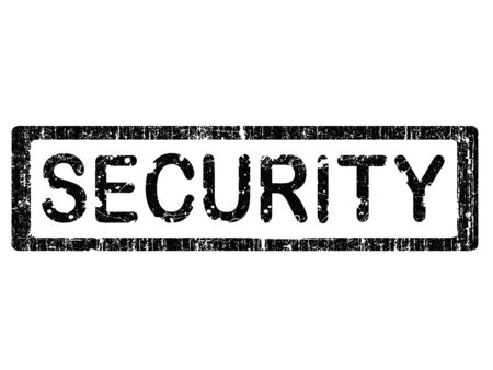 Grunge Office Stamp with the word SECURITY in a grunge splattered text. (Letters have been uniquely designed and created by hand) Ilustração