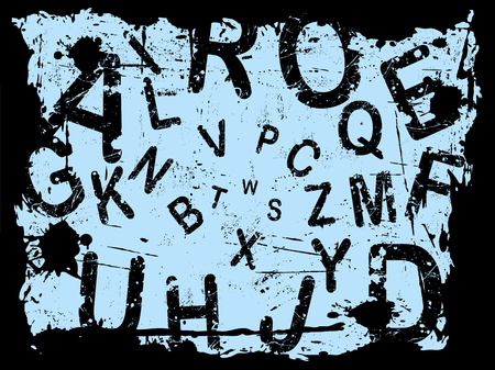 Letter Grunge Background with letters falling into the center Ilustração