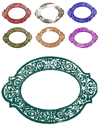 7 Grunge Ornate Borders (Transparent Vectors so they can be overlaid on to other illustrations etc) Ilustração