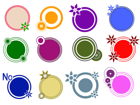 Pop Circle Graphic Elements with Flower and circle motifs Ilustração
