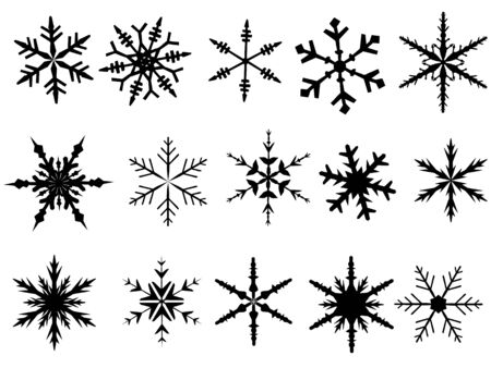 Snowflake Elements 1 of 4 (Snowflakes are grouped and the white is transparent for easy coloring, and use with other vectors)
