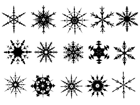 Snowflake Elements 3 of 4 (Snowflakes are grouped and the white is transparent for easy coloring, and use with other vectors)