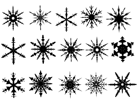 Snowflake Elements 4 of 4 (Snowflakes are grouped and the white is transparent for easy coloring, and use with other vectors) Ilustração