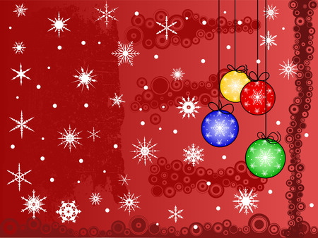 Festive Christmas Scene, with snowflakes snow and baulballs.