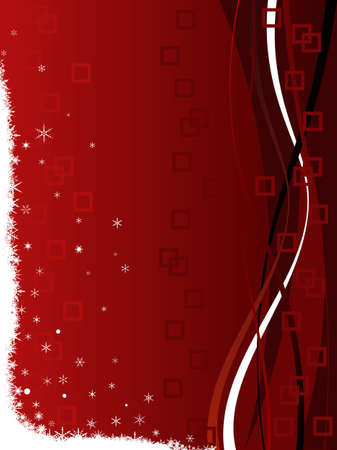 Classy Festive Christmas Background with squares and swirls and snowflakes on a red fading background
