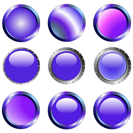 9 Purple Web Buttons each grouped for easy usage