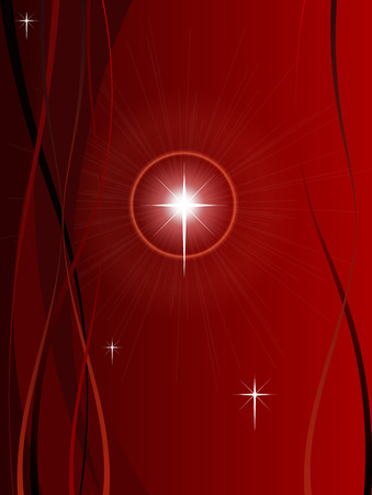 festive christmas background with shining point lights swirls and snowflakes on a red fading background