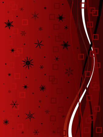Classy Festive Christmas Background with squares and swirls and Black snowflakes on a red fading background