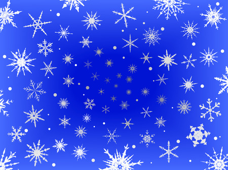 Background of  Frosted Snowflakes on a Blue Fading background
