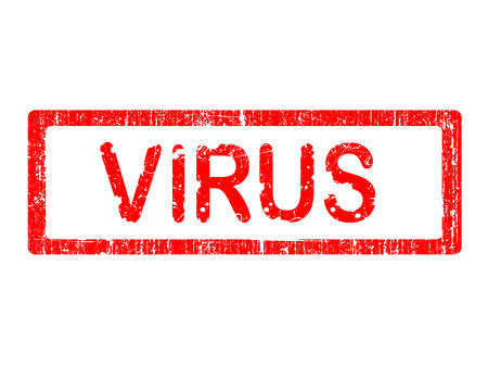 Grunge Office Stamp with the word VIRUS in a grunge splattered text. Letters have been uniquely designed and created by hand