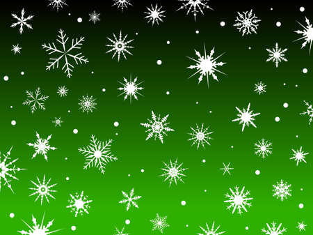 Border of snowflakes fading into a Green background Ilustração
