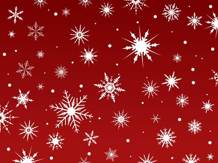 Border of snowflakes fading into a red background Ilustração