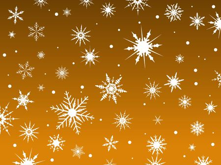 Border of snowflakes fading into an Orange background Ilustração