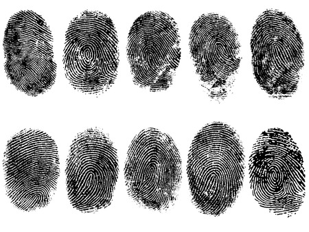 10 Black and White Vector Fingerprints - Very accurately scanned and traced ( Vector is transparent so it can be overlaid on other images, vectors etc.) Ilustração