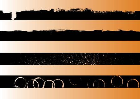 4 Black grunge artistic strips 1 (Transparent vector so it can be overlaid onto other graphics and images) Ilustração