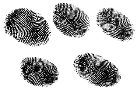 5 Black and White Vector Fingerprints - Very accurately scanned and traced ( Vector is transparent so it can be overlaid on other images, vectors etc.) Ilustração