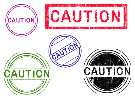 5 Grunge effect Office Stamp with the word CAUTION in a grunge splattered text. (Letters have been uniquely designed and created by hand)